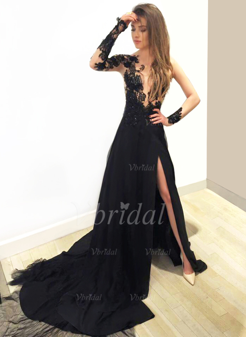 A-Line/Princess V-neck Court Train Chiffon Prom Dress With Beading Appliques  Lace Split Front (0185098933)