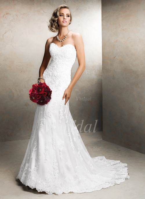 trumpet mermaid sweetheart court train tulle lace wedding dress with appliques lace 0025060172. Black Bedroom Furniture Sets. Home Design Ideas