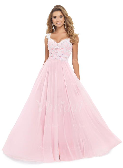 f679954c6134 A-Line/Princess V-neck Floor-Length Chiffon Prom Dress With Beading Appliques  Lace (0185093446)
