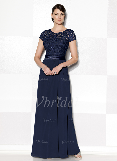 cbf82074dfa A-Line Princess Scoop Neck Floor-Length Chiffon Lace Mother of the Bride  Dress With Beading (0085104925)