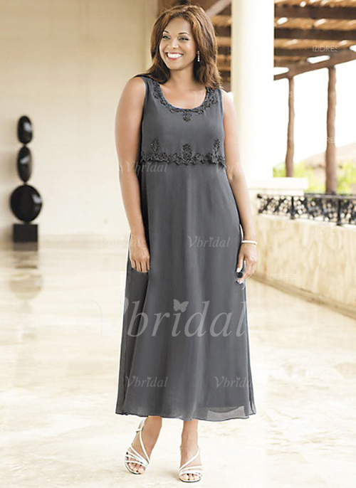 c0fc11af91f7 A-Line Princess Scoop Neck Ankle-Length Chiffon Mother of the Bride Dress  With Beading Appliques Lace (0085095797)