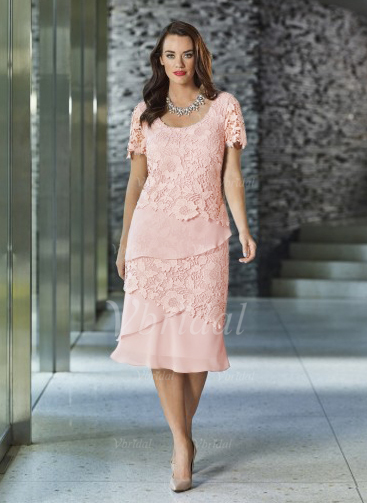 3a973bc3 Sheath/Column Scoop Neck Knee-Length Chiffon Lace Mother of the Bride Dress  With Beading (0085097336)