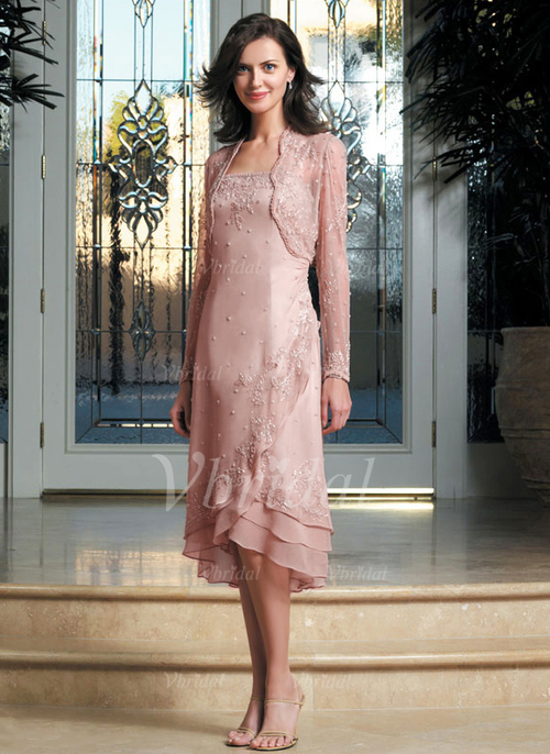 284c953d128 A-Line Princess Strapless Asymmetrical Chiffon Mother of the Bride Dress  With Appliques Lace (0085098156)
