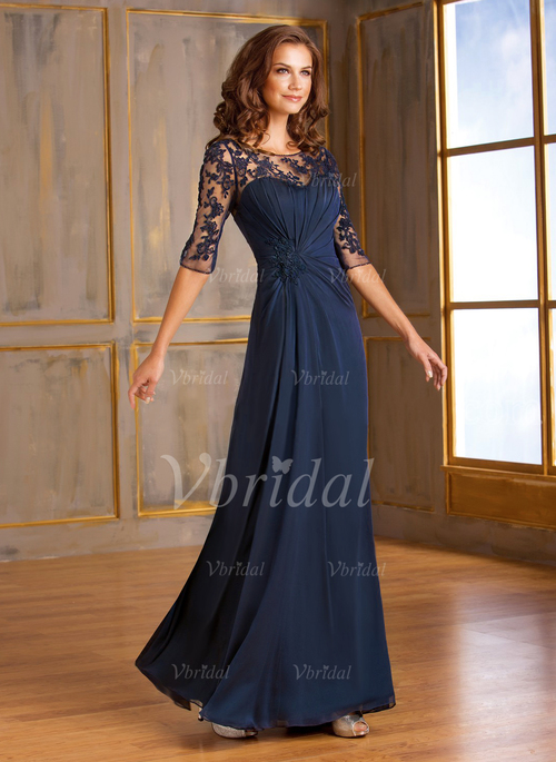 4443b3f98f2 A-Line Princess Scoop Neck Floor-Length Chiffon Tulle Mother of the Bride  Dress With Ruffle Lace Appliques Lace (0085059772)